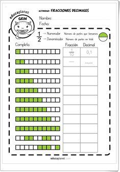 """""""Fracciones decimales"""" (Ficha de Matemáticas de Primaria) Kids Math Worksheets, Math Activities, Decimals Worksheets, Classroom Language, Math Classroom, Math For Kids, Fun Math, Math Drills, Math Strategies"""