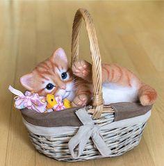 Cute Needle felting wool cute animals cat (Via @kittenblackua)