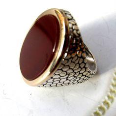 Carnelian 925 sterling silver  artisan Turkish men's ring