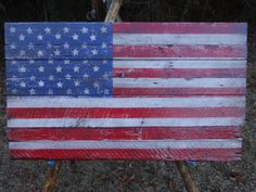 Large American Flag On Salvaged Wood 47x28 Rustic by Folkartflags, $300.00 - over couch or in dining room? what about guest room or office