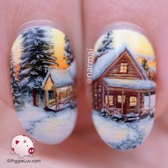 Ahh I've missed doing freehand landscape nail art! Come enjoy some hot cocoa in my cosy cabin after a long icy trek through the snow! I recorded a tutorial to show you how I build up nail art design such as this ; Winter Nail Art, Winter Nail Designs, Christmas Nail Designs, Christmas Nail Art, Holiday Nails, Winter Nails, Spring Nails, Gel Designs, Cool Nail Designs