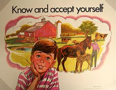 Seventies Classroom Posters – know and accept yourself - Vintage posters