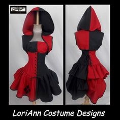 Female Joker Inspired Villain Style Brick Red  Black Top Hoodie Corset, Mini Skirt, Add-a-Bustle Costume by LoriAnn Costume Designs 1091