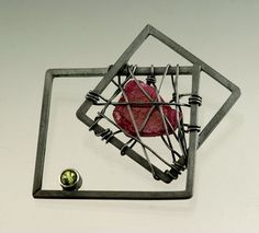 2BAW52/31 Caged Raw Ruby with Peridot Blackened Silver Brooch   by jenlawlerdesigns