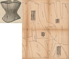Der Bazar 1868: Grey drilling corset; 33. front part, 34. first front breast gore, 35. second front breast gore, 36. first front hip gore, 37. second front hip gore, 38. back part, 39. back hip gore (scratched lines mark the selvage run)