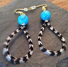 Handmade Feather Earrings from Wilderman's Etsy Shop #turquoise #loopearrings #featherearrings #feathers #boho #bohemian #hippie #mountainwear #handmade #jewelry #earrings #festivalwear #roosterfeathers #etsy #forsale #coloradostyle #custom  www.etsy/shop/wildermans