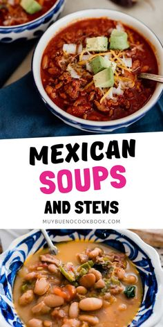 Full of tradition — these Mexican soups and stews are ultimate comfort food on a cold winter day. Classic Mexican soup recipes include Caldo de Pollo, Caldo de Res, Albondigas, and Sopa de Fideo. Bueno Recipes, Mexican Soup Recipes, Good Food, Yummy Food, Recipe Collection, Soups And Stews, Curry, Food And Drink, Ethnic Recipes