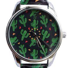 Women Quartz Watch Analog Green Cactus Partten Ladies Leather Wrist Watches New #ZIZ #Fashion