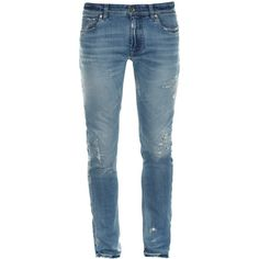 Dolce & Gabbana Distressed jeans ($503) ❤ liked on Polyvore featuring men's fashion, men's clothing, men's jeans, light blue, mens super skinny jeans, mens ripped jeans, mens light blue jeans, mens destroyed jeans and mens torn jeans