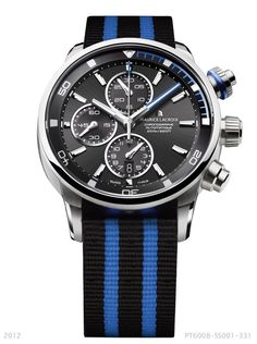 The Pontos S in blue with a blue NATO strap. Featuring a chronograph, date, small seconds, 43mm case and water-resistant to 200m. PT6008-SS001-331.