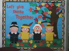 Thanksgiving Bulletin Boards for Kindergarten - Bing Images Thanksgiving Classroom Door, Thanksgiving Bulletin Boards, Thanksgiving Preschool, Fall Preschool, Thanksgiving Blessings, Thanksgiving Projects, Preschool Ideas, Preschool Crafts, Elementary Bulletin Boards