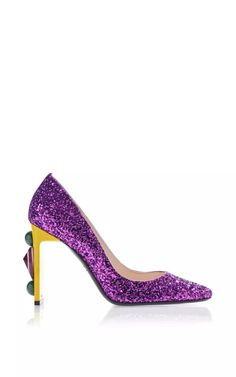 Purple Glittery Pump With Jewel Embellished Heel by Bally for Preorder on Moda Operandi