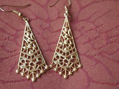 Vintage Gold Plated Drop Earrings by BijouxDeMaMere on Etsy