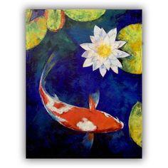 ArtWall Michael Creese Kohaku Koi and Water Lily ArtAppealz Removable Wall Art, Size: 36 x 48, Orange