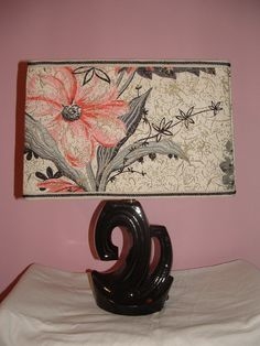 Retro Lamp with Handcrafted Vintage Barkcloth Shade by Ginersue, $45.00
