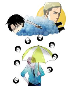"""""""ITS RAINING LEVI!!!"""" by hanabusa ❤ liked on Polyvore featuring art"""