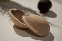 Walnut 'keepsake' box by Kristine Bjaadal, part of the Norweigian Food Work collective, at Design Tide