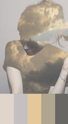 Inspiration image: Take photo of sky/clouds, use for silhouettes. Either as positive or negative image. Dreamy portraits for sky parlor. Double Exposure Photography, Art Photography, Concept Photography, Photomontage, Head In The Clouds, Double Exposition, Kunst Online, Portraits, Art And Illustration