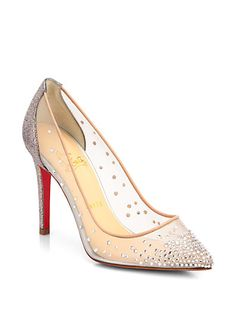 Christian Louboutin - Body Strass Glitter Pumps - Saks.com - Modern Day Cinderella shoes, delicate nude color mesh