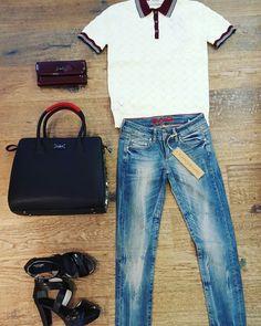 Vintage polo #Maisonscotch vintage jeans (perfect ass) #Edenschwartz vintage wallet & bag #PaulsBoutiqueLondon perfect high heels #Nerogiardini www.partnermode.nl