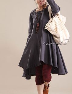 Plus Size Dress1X 2X 3X Custom Made Womens Dress Grey Cotton Long Sleeves High Low Dress Made to Order. $65.00, via Etsy.