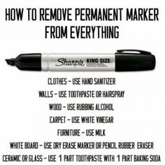 The best DIY projects & DIY ideas and tutorials: sewing, paper craft, DIY. Ideas About DIY Life Hacks & Crafts 2017 / 2018 Cleaning Tip - Get permanent marker off everything with these laundry tips. Also Life Hacks You Needed to House Cleaning Tips, Diy Cleaning Products, Cleaning Solutions, Cleaning Hacks, Cleaning Recipes, Homemade Cleaning Supplies, Cleaning Schedules, Cleaning Items, Cleaning Equipment