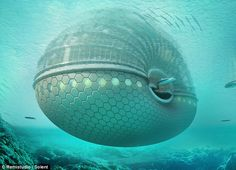 Five-star floating Ark Hotel. The shell-shaped hotel is designed to withstand tidal waves and other natural disasters Floating Hotel, Floating In Water, Floating Cities, Floating Island, Zombie Proof House, Hotel World, Hotel Concept, Concept Art, Unique Hotels