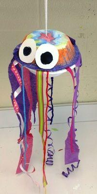 2nd Grade Jellyfish - need 2 paper bowls, watercolors, assortment of ribbon, crepe paper, yarn, string, etc.