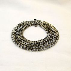 Men's Solid Stainless Steel Chainmaille Bracelet by ThreePineHill