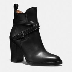 Coach Jackson Bootie (€335) ❤ liked on Polyvore featuring shoes, boots, ankle booties, black, black leather bootie, coach booties, ankle boots, black bootie and high heel boots