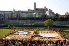 Una gran lona al costat del riu Segre diu a Merkel que els catalans volen votar - vilaweb.cat, 27.07.2014. 'Senyora cancellera, el 9N els catalans votaran per la seva llibertat'. Aquesta frase, acompanyada de la fotografia de la cancellera alemanya, Angela Merkel, s'ha pogut llegir, en alemany, en un dels dos murals de 15 per 30 metres desplegats aquest dissabte a la tarda a Lleida per mig miler de persones. En el segon, s'hi veia una urna i al costat hi deia 'És el temps del Sí Sí'.