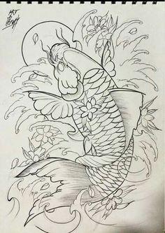 Shop wall ideas too Japanese Koi Fish Tattoo, Koi Fish Drawing, Japanese Tattoo Designs, Fish Drawings, Pez Koi Tattoo, Koi Dragon Tattoo, Carp Tattoo, Koy Fish Tattoo, Koi Art