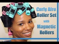 """""""Curly Afro Spiral Curls"""" Roller Set on Natural Hair Using Magnetic Rollers - YouTube"""