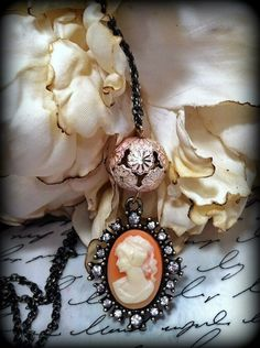 Cameo Necklace   Design & Handcrafted by Rachel's Originals:  Jewelry So Adorable,.. It's ADORNable  TO ORDER: Please visit my FB and/or Esty pages at the following links!  www.facebook.com/RachelsOriginals  www.rachelsoriginalgifts.etsy.com