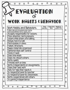 Evaluation of Work Habits and Behavior. First Grade Site!: Ready for Parent/Teacher Conferences! Parent Teacher Communication, Student Behavior, Student Data, Classroom Behavior, School Classroom, Classroom Management, Parent Teacher Conference Forms, Behavior Management, Class Management