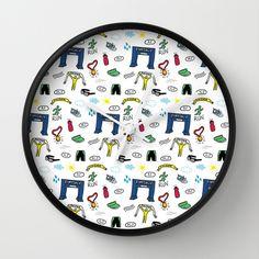 Running Doodles Wall Clock