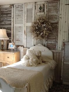 Wall of rustic shutters.