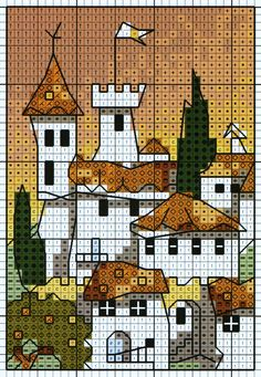 'White Village' from Michael Powell's 'Mini Cross Stitch' book (paperback, pub. Search Press). There are twenty to make and they are all very quirky and appealing. I have made most of the pictures in this book for someone or other and they are a real pleasure to work on. My attempt at this design can be found at https://uk.pinterest.com/pin/504614333230834596/