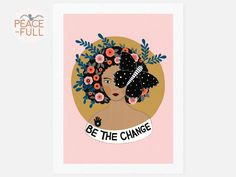 Be The Change Spiritual Art Print - illustrated Quote Gift - Inspiring Art - Meditation Mantra - Meditation Quote - Boho Art Print Mantra Meditation, Gift Quotes, Inspiring Art, Spirituality, Change, Art Prints, Boho, Illustration, Artwork