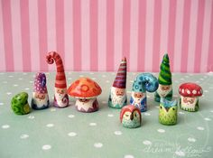 tiny hand painted clay gnome figures (and more)
