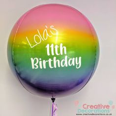 A personalised rainbow obrz, perfect for a little girls birthday Bubble Balloons, Printed Balloons, Gold Balloons, Wedding Balloons, Helium Balloons, Confetti Balloons, Latex Balloons, Birthday Balloons, Personalized Balloons