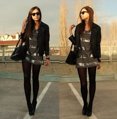 sequins and stripes would wear  with leggings or jeans not sheer tights