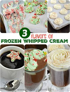 Such a fun and festive way to celebrate the holidays by adding some homemade FROZEN Whipped Cream to your beverage. 3 flavor combos in this recipe: Classic, Peppermint, and Eggnog @adamideast #GiveGallons