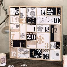 Artemio Advent Calendar To Decorate Geometric Wood Wood 40 x 40 x cm Christmas Town, Christmas Holidays, Christmas Crafts, Countdown Calendar, Diy Calendar, Calendrier Diy, Wooden Advent Calendar, Advent Calenders, Calander