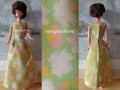 Vintage Dress Floral Pink Green White Yellow / Barbie Doll Babs Bild Lilli size #Clothing