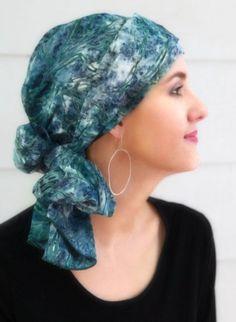 Fern Print Blue Green Turban Hat Set, Head Wrap Alopecia Scarf, Chemo Hat, Hat & Scarf Set - pinned by pin4etsy.com
