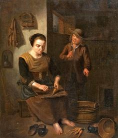 Kitchen Interior with Woman and Boy attributed to Peter Snyers