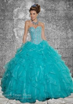 Ball Gown Sweetheart Neckline Floor length Sleeveless Organza Quinceanera Dress with Beading (SAS375)
