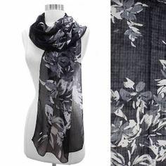 Scarf Chiffon Floral Design White on Black Shawl Lightweight Fashion Wrap  http://stores.ebay.com/beachcats-bargains  beachcats bargains