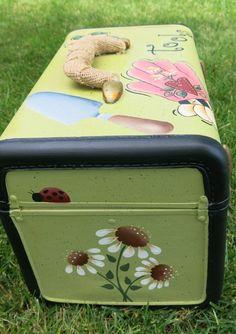 Painted vintage train case seeds garden glove. by MyPaintedSwan